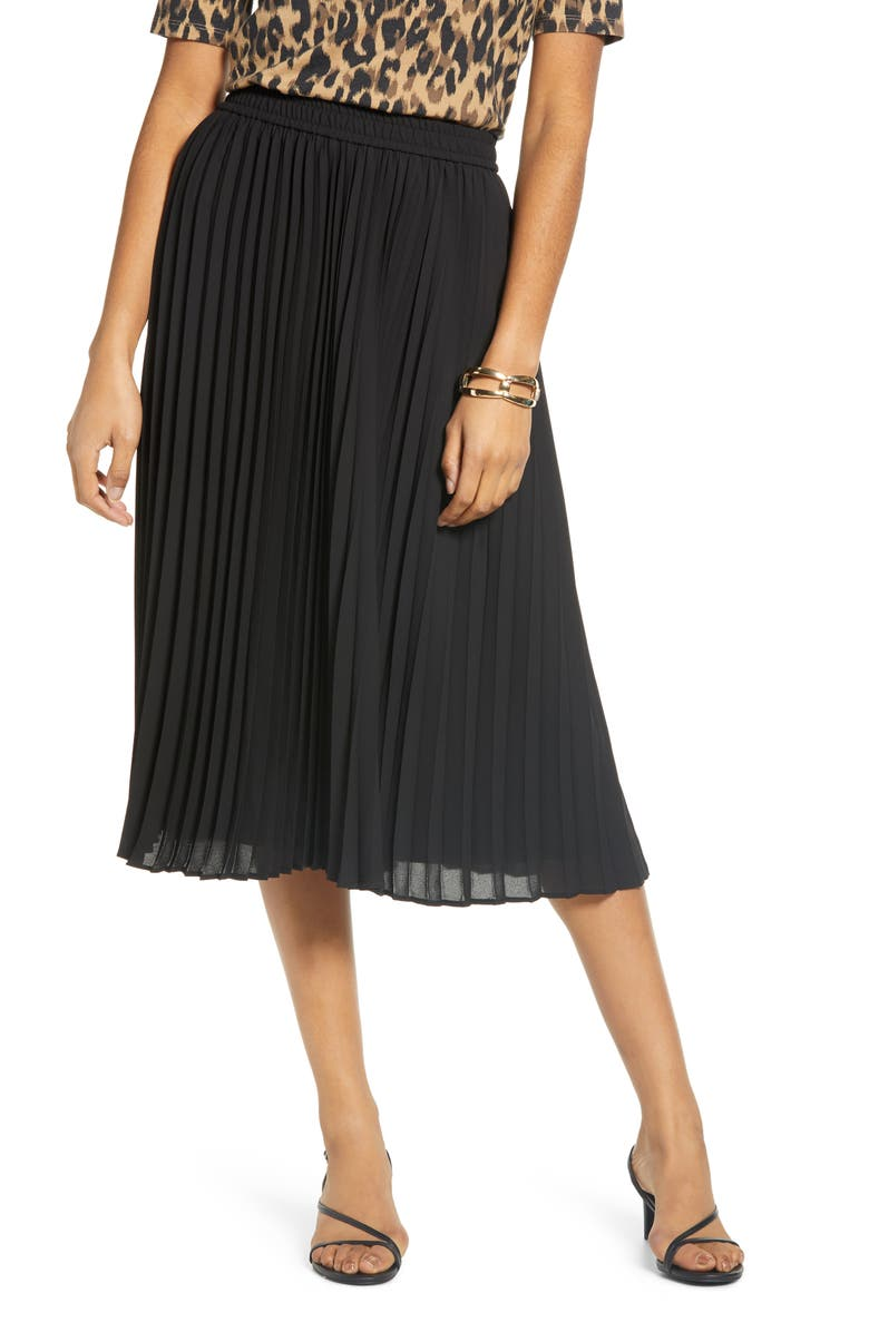HALOGEN<SUP>®</SUP> Pleated Chiffon Skirt, Main, color, BLACK