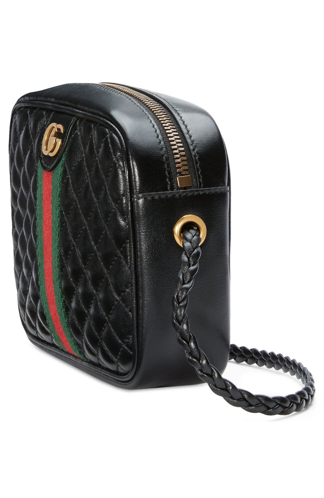,                             Small Quilted Leather Camera Bag,                             Alternate thumbnail 4, color,                             NERO/ VERT/ RED
