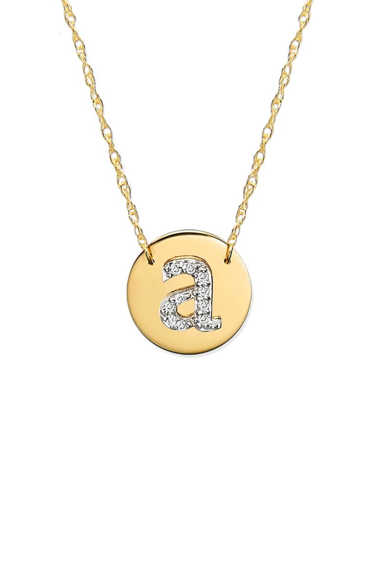 JANE BASCH DESIGNS Diamond Initial Disc Pendant Necklace, Main, color, GOLD - A
