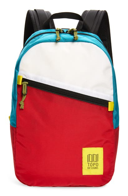 Topo Designs Light Backpack - Red In White/ Red/ Turquoise