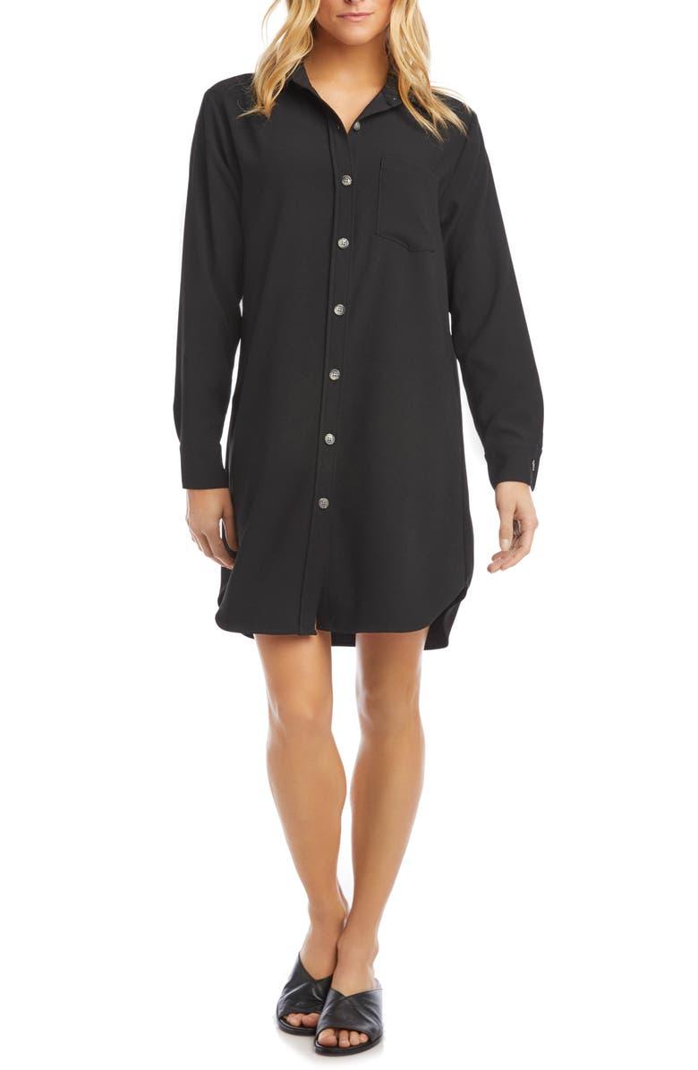 KAREN KANE Classic Long Sleeve Shirtdress, Main, color, BLACK