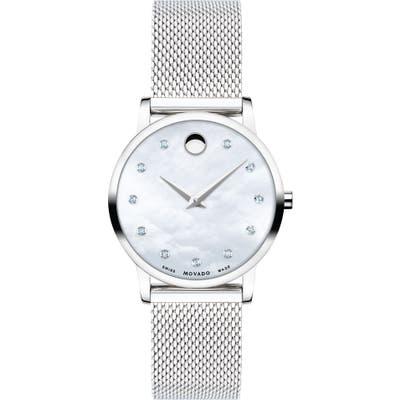 Movado Museum Diamond Mesh Strap Watch, 2m
