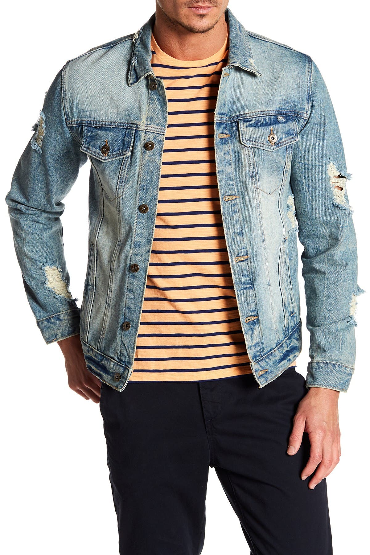 Image of Request Distressed Denim Jacket