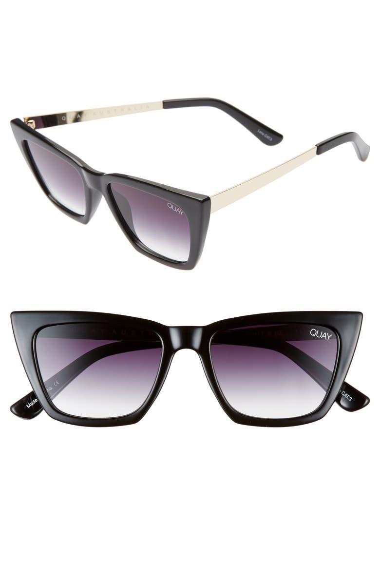 QUAY AUSTRALIA x Desi Perkins Don't @ Me 48mm Cat Eye Sunglasses, Main, color, BLACK/ FADE