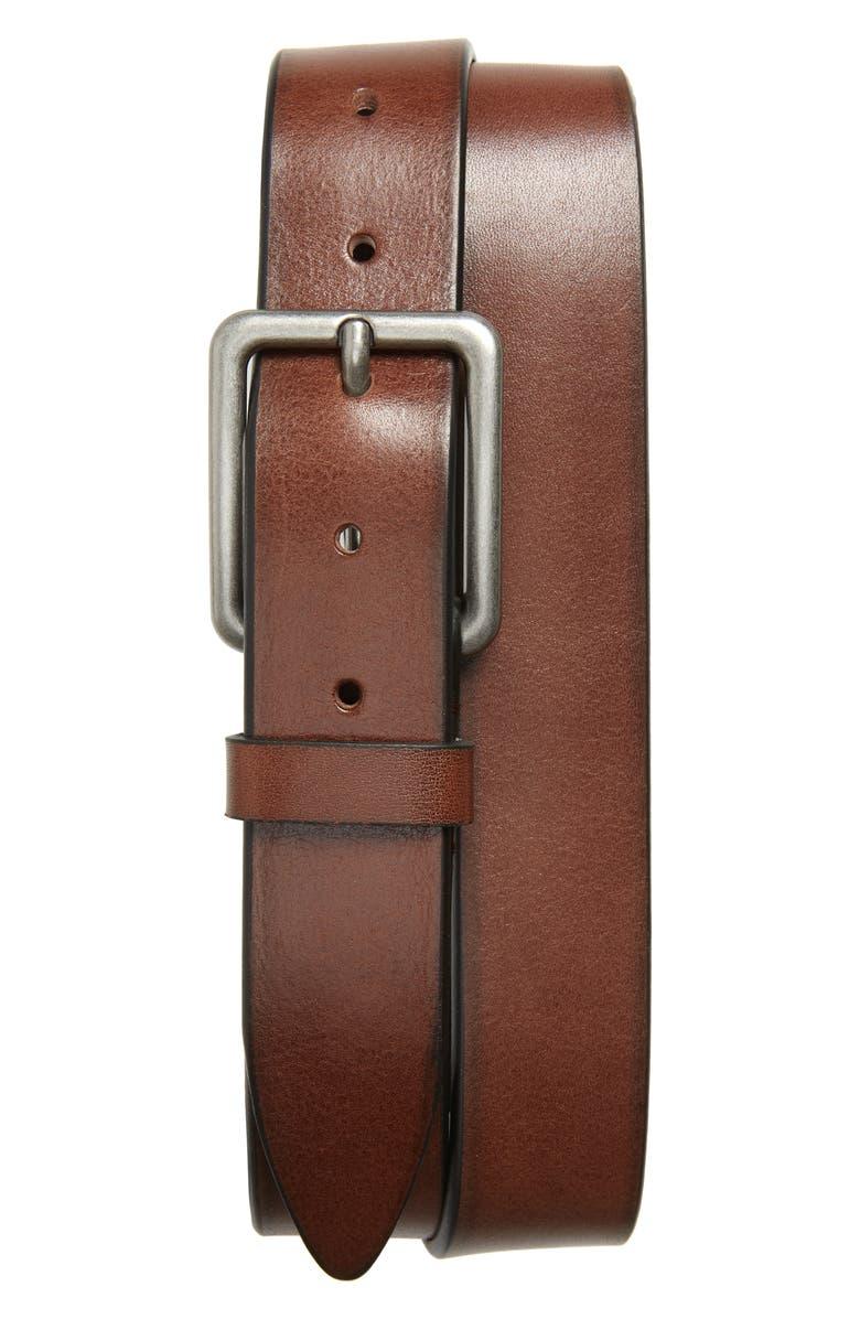 1901 Seaside Prep Leather Belt, Main, color, OXBLOOD