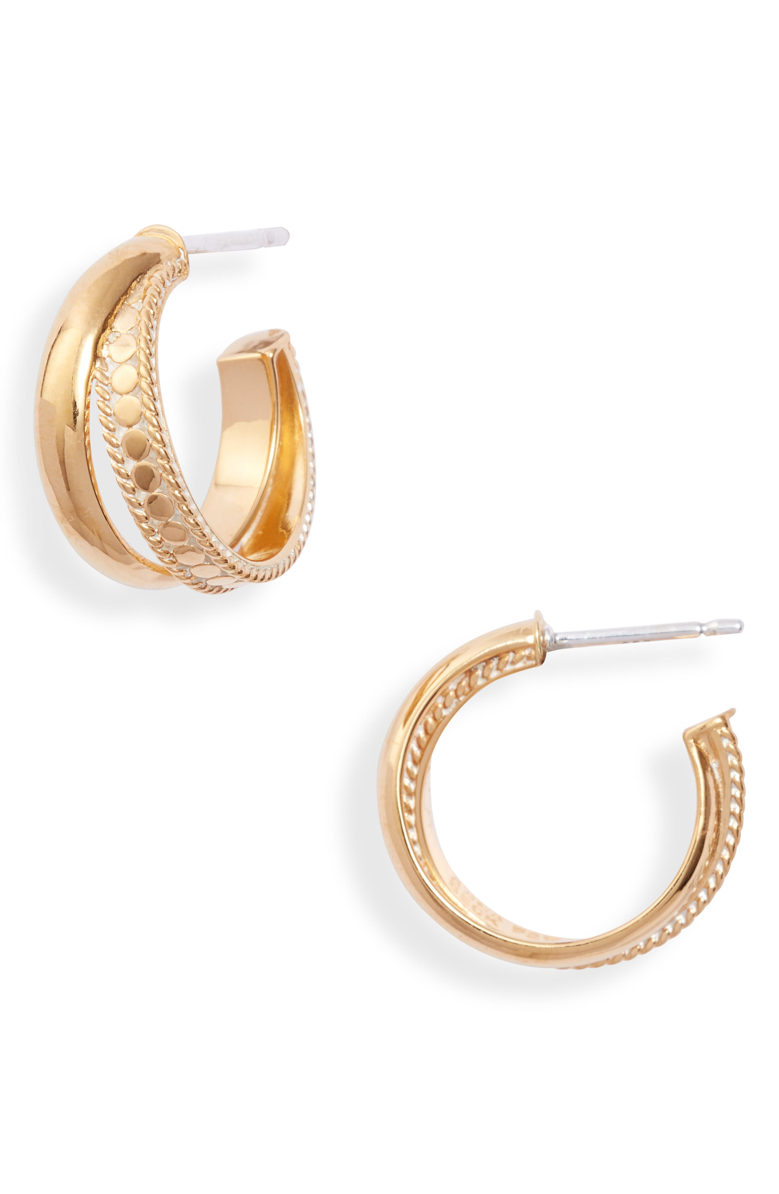Smooth Dome & Dotted Crossover Hoop Earrings (Nordstrom Exclusive)