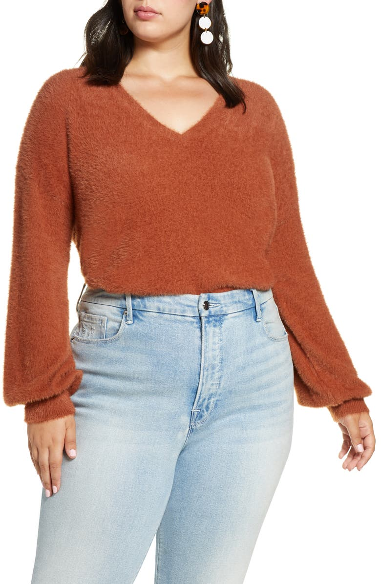 HALOGEN<SUP>®</SUP> Fuzzy V-Neck Sweater, Main, color, RUST SEQUOIA