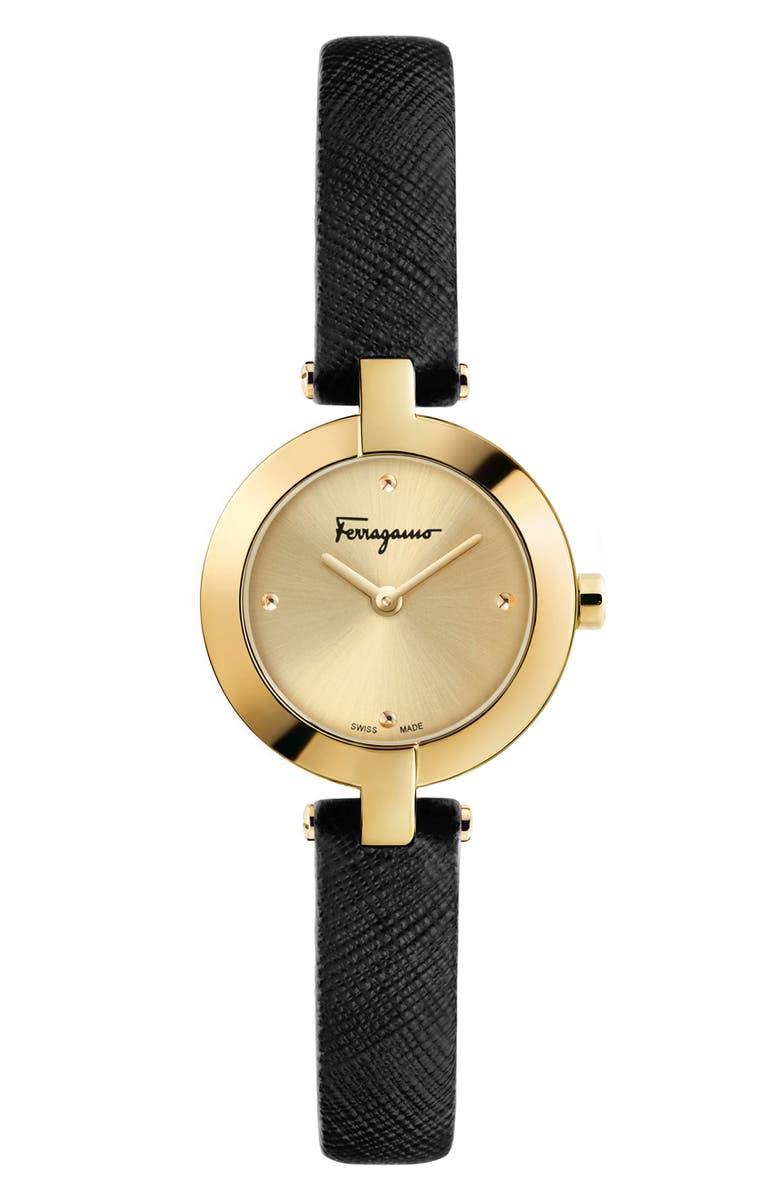 SALVATORE FERRAGAMO Miniature Leather Strap Watch, 26mm, Main, color, 001