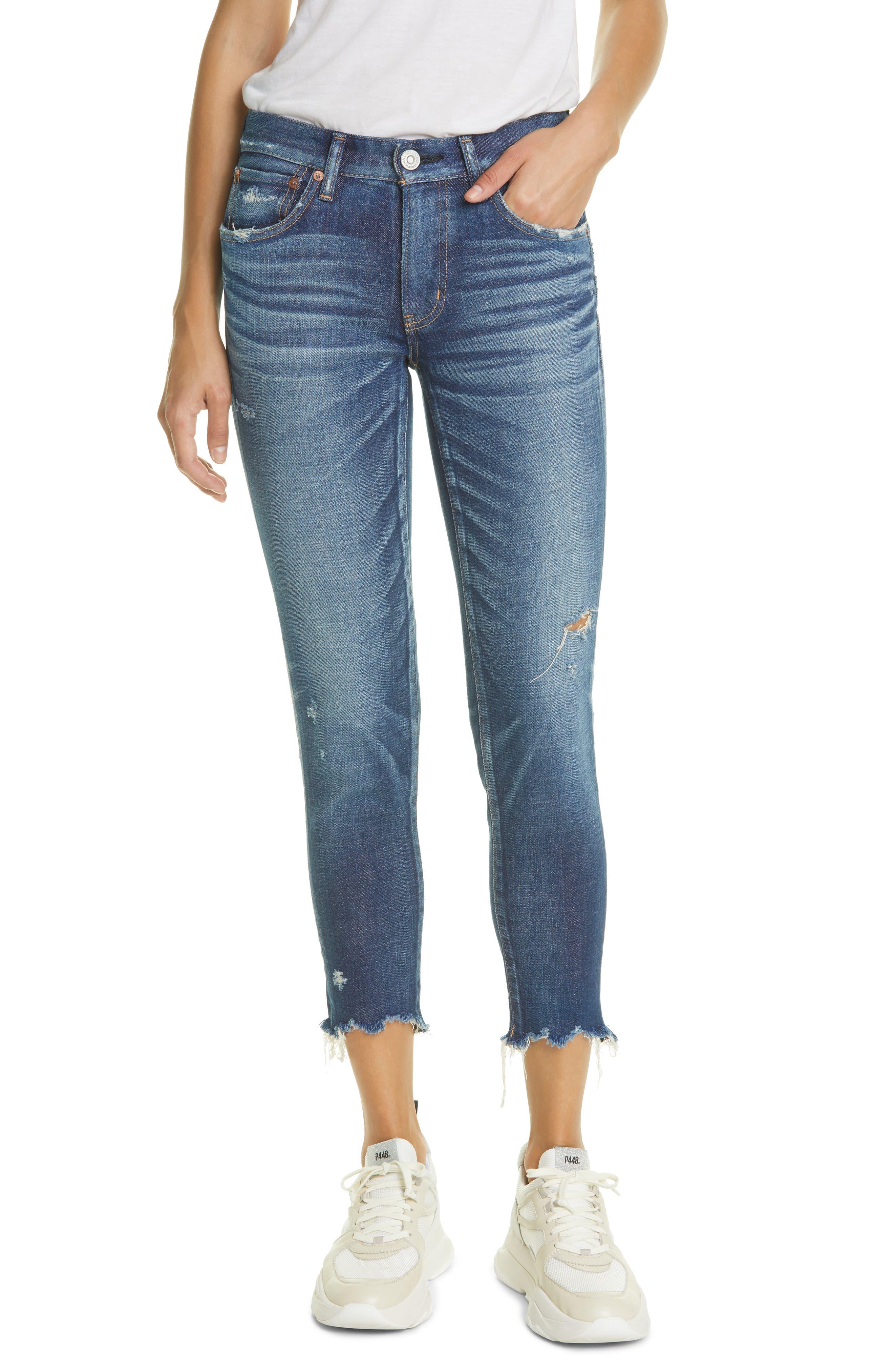 Checotah Distressed Raw Hem Skinny Jeans