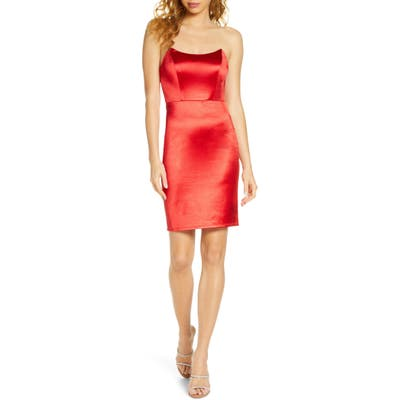 Lulus Malory Strapless Satin Cocktail Dress, Red