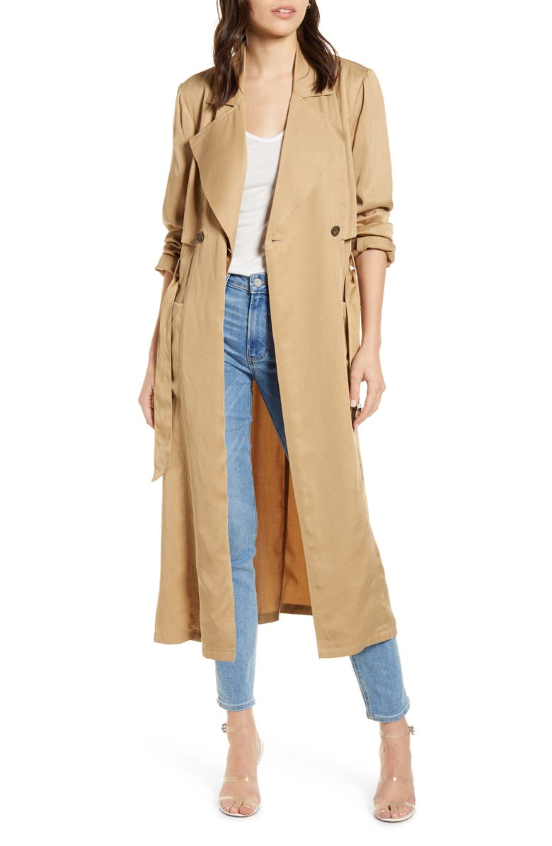CUPCAKES AND CASHMERE Melody Belted Trench Coat, Main, color, ARMY TAN