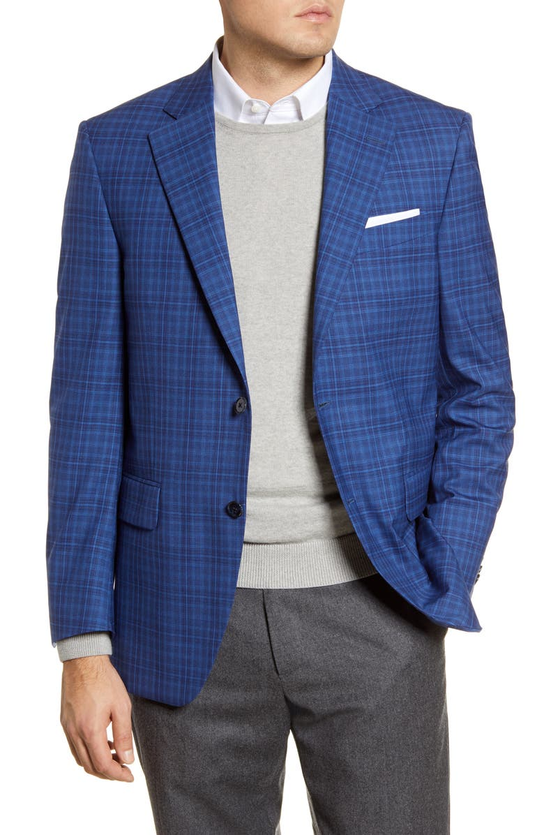 PETER MILLAR Classic Fit Plaid Wool Sport Coat, Main, color, 400