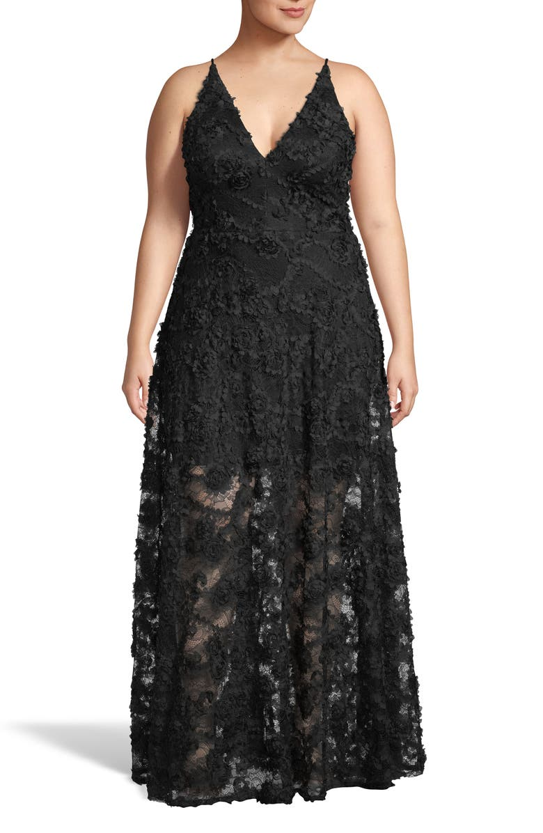 XSCAPE 3D Lace V-Neck Evening Dress, Main, color, BLACK