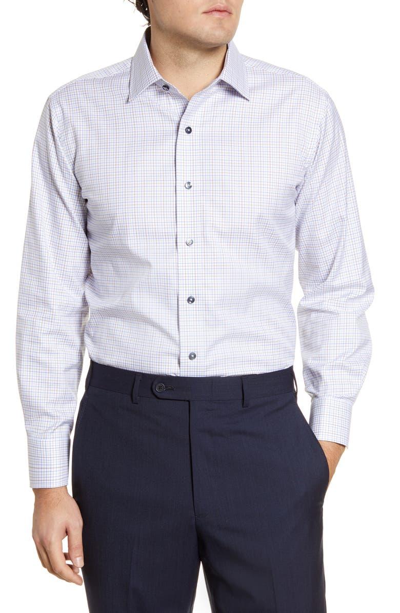 LORENZO UOMO Trim Fit Check Dress Shirt, Main, color, WHITE/ TAN