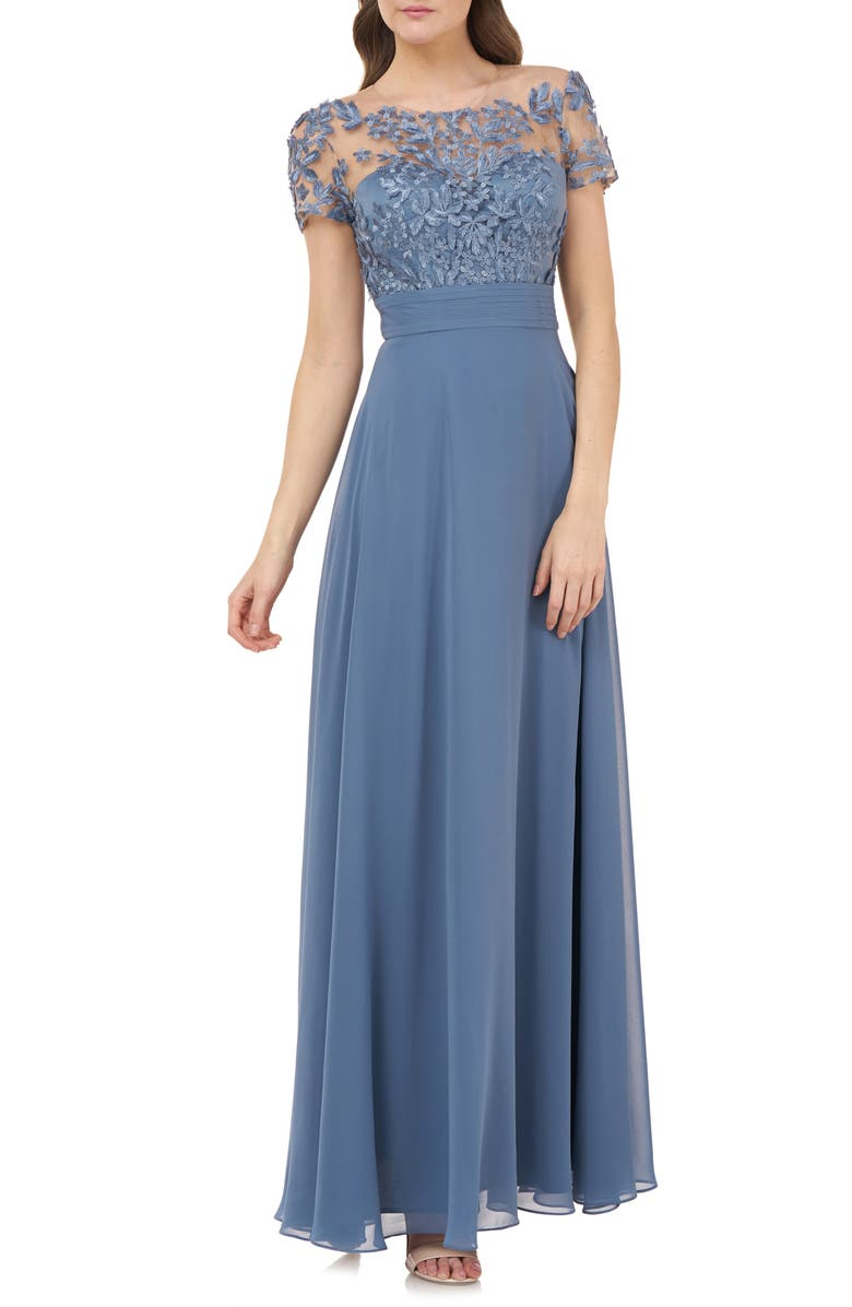 JS COLLECTIONS Embroidered Illusion Bodice Gown, Main, color, MINERAL BLUE
