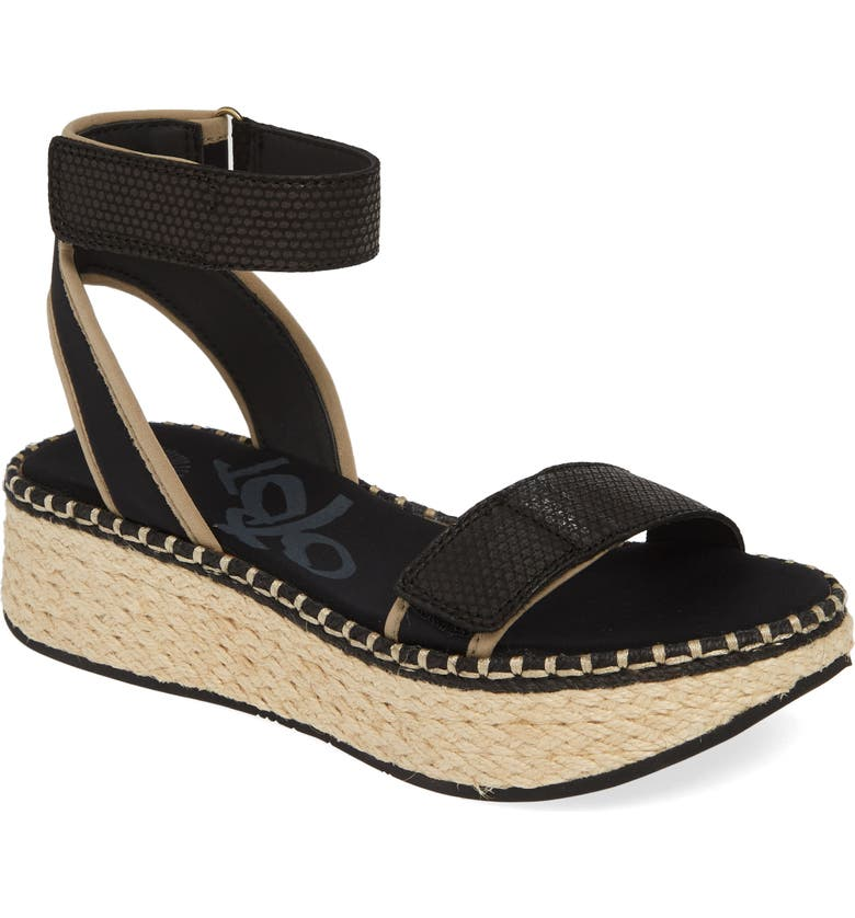 OTBT Reflector Espadrille Platform Sandal, Main, color, BLACK FABRIC