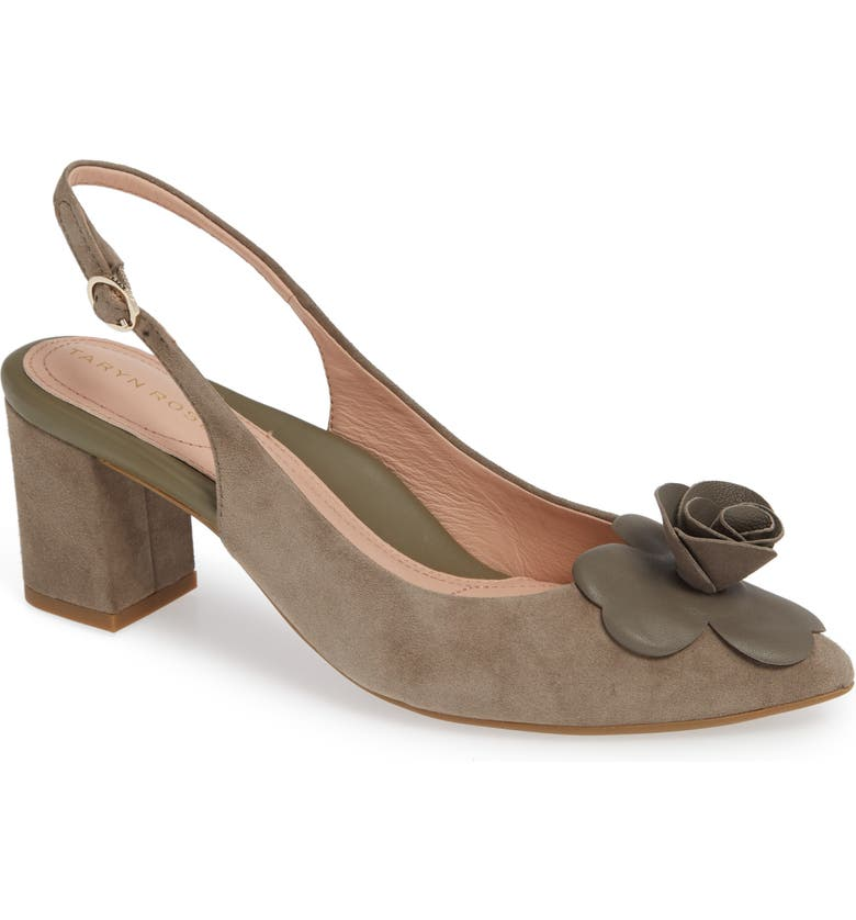 TARYN ROSE Michelle Rose Detail Slingback Pump, Main, color, CLAY SUEDE