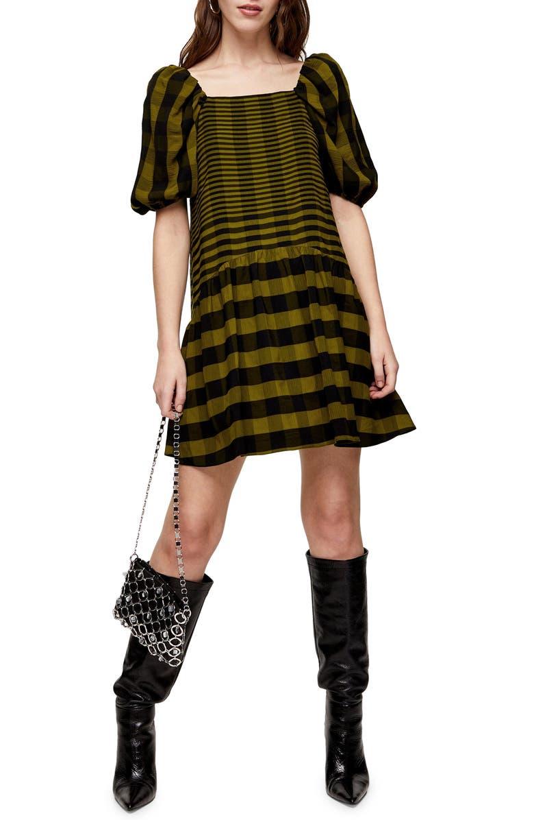 TOPSHOP Texture Check Minidress, Main, color, BLACK MULTI