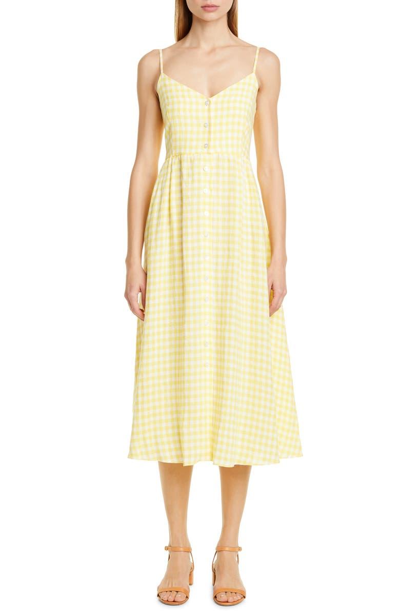 MANSUR GAVRIEL Gingham Linen Midi Dress, Main, color, 701