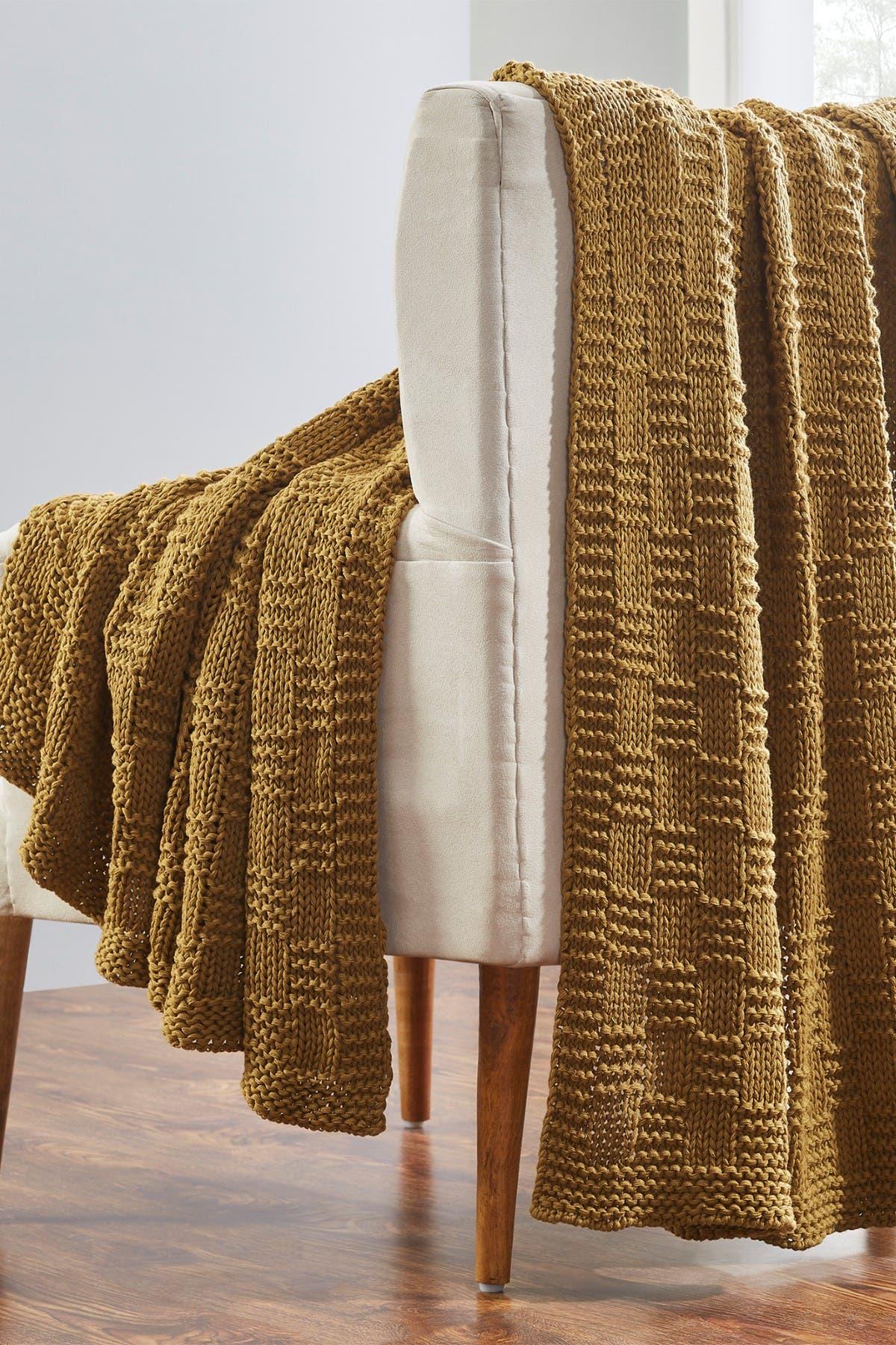 "Image of Modern Threads Acrylic Knit Throw - 50"" X 70"" - Phelon Gold"