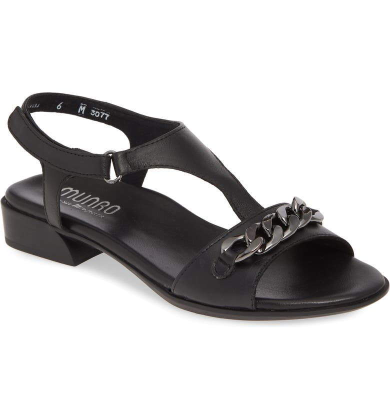 MUNRO Jackie Sandal, Main, color, BLACK LEATHER