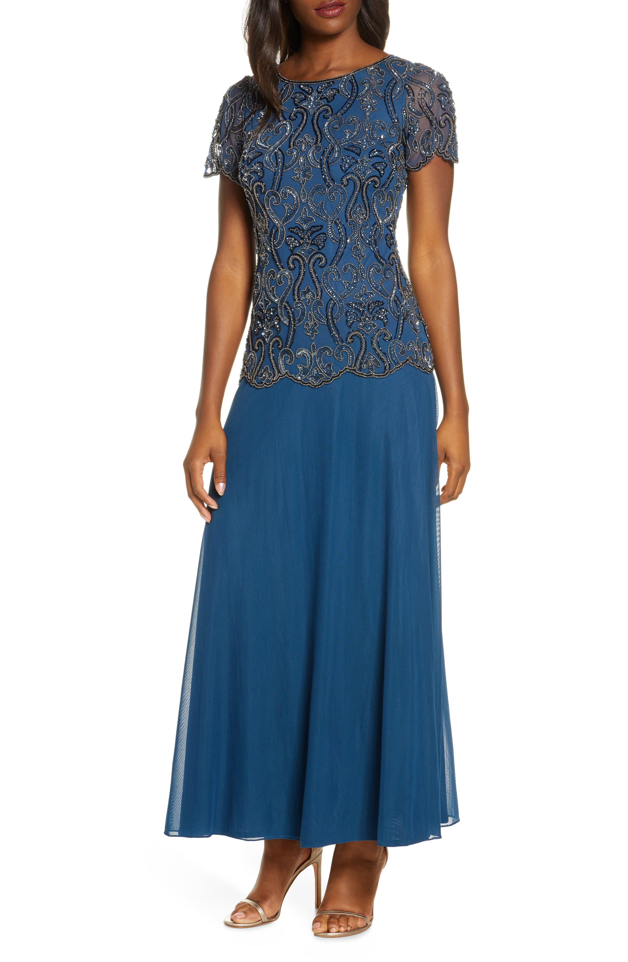 Charleston Dress: Fringe Flapper Dress Womens Pisarro Nights Bead Embellished Mock Two-Piece Gown $238.00 AT vintagedancer.com