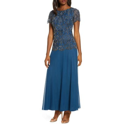 Petite Pisarro Nights Bead Embellished Mock Two-Piece Gown, Blue