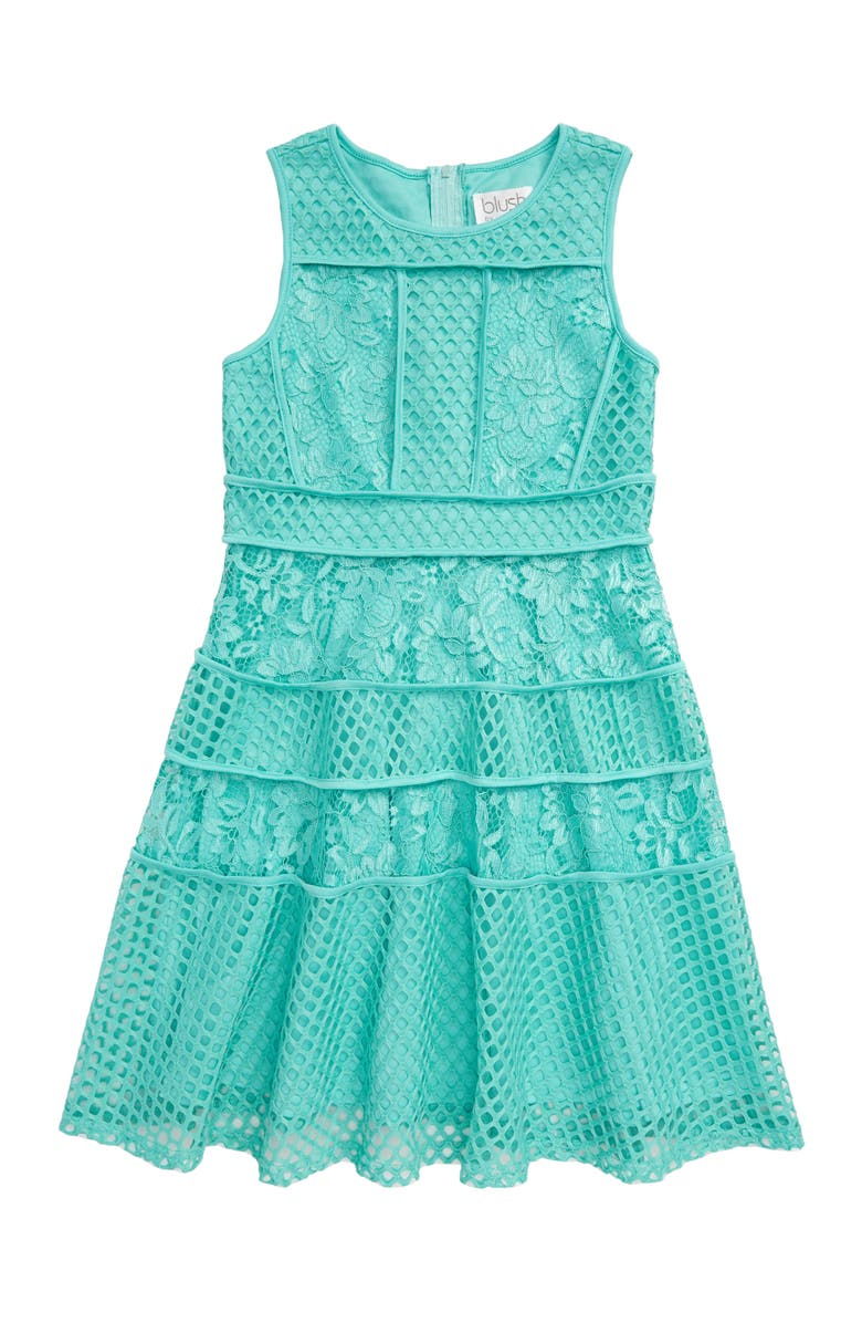 BLUSH BY US ANGELS Lace & Mesh Tiered Dress, Main, color, AQUA