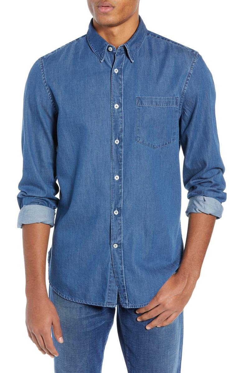 FRENCH CONNECTION Slim Fit Denim Shirt, Main, color, 420