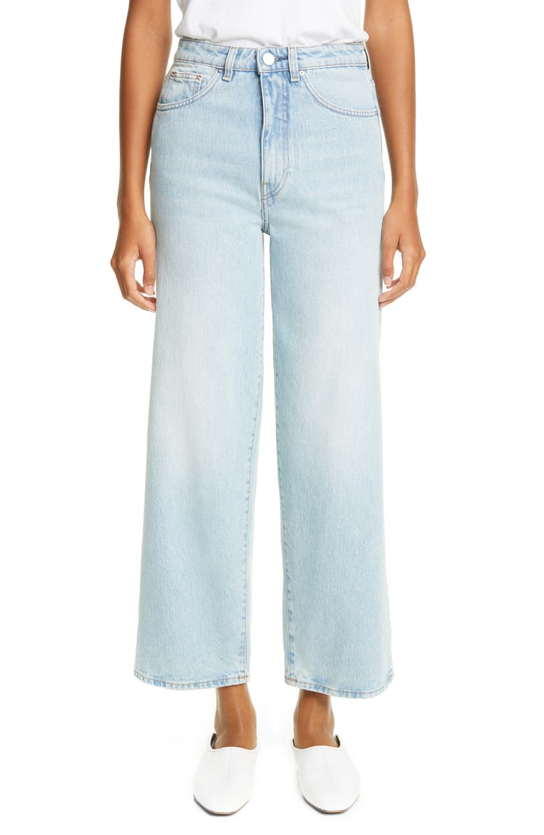 TOTÊME TOTEME High Waist Flare Crop Jeans, Main, color, LIGHT BLUE WASH