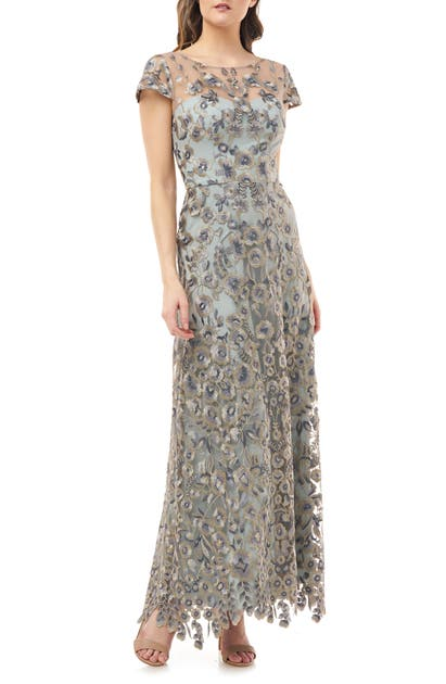 Js Collections Embroidered Lace Gown In Spearmint