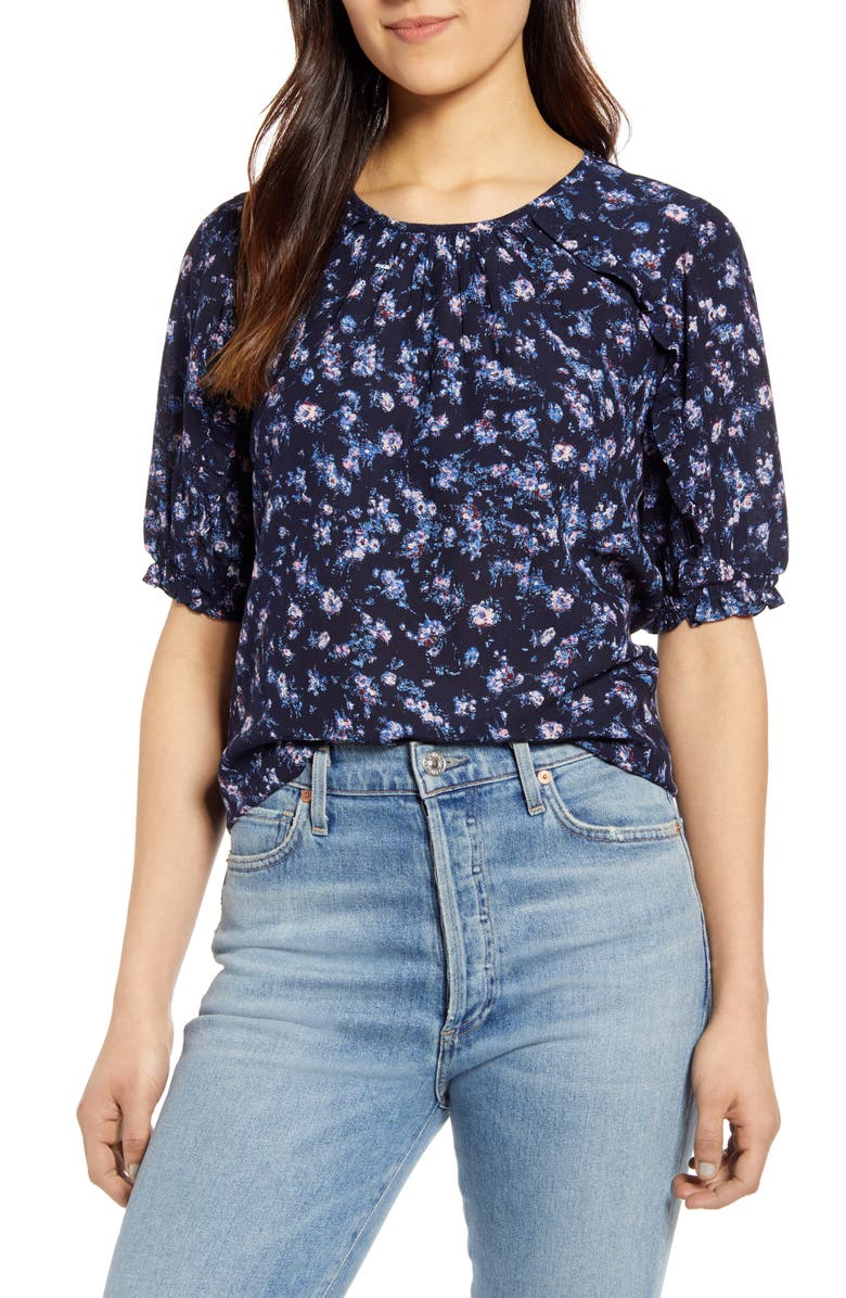 LUCKY BRAND Lauren Ruffle Top, Main, color, NAVY MULTI