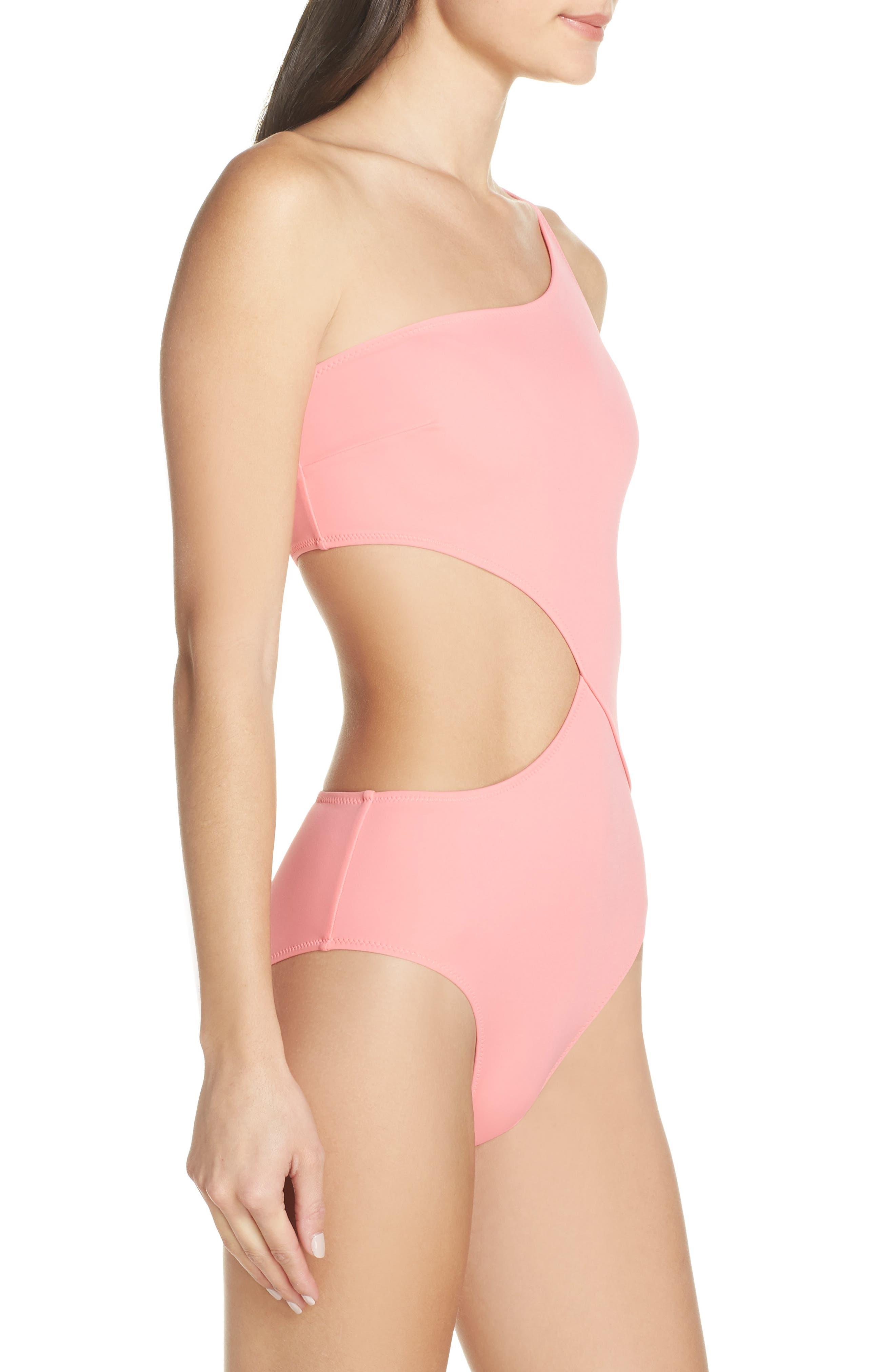 ,                             Claudia One-Piece Swimsuit,                             Alternate thumbnail 3, color,                             FLAMINGO