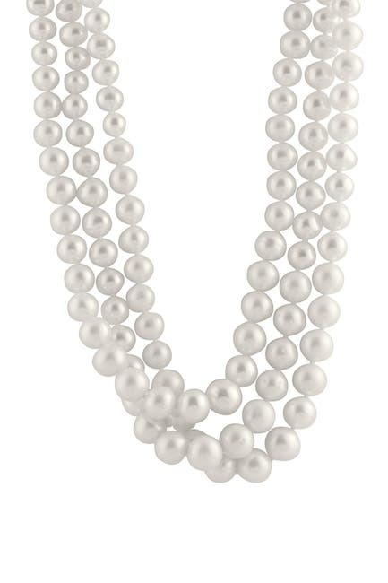Image of Splendid Pearls 6-10mm White Freshwater Pearl Triple Graduated Necklace