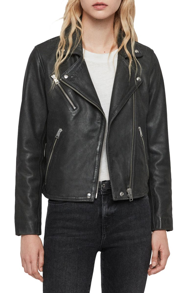 ALLSAINTS Arden Biker Jacket, Main, color, BLACK