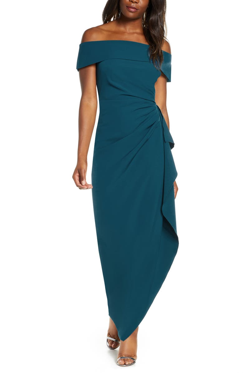 VINCE CAMUTO Off the Shoulder Crepe Column Gown, Main, color, TEAL