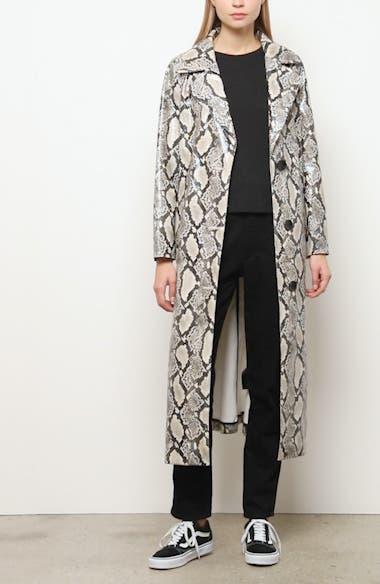 Mollie Snake Print Faux Leather Coat, video thumbnail