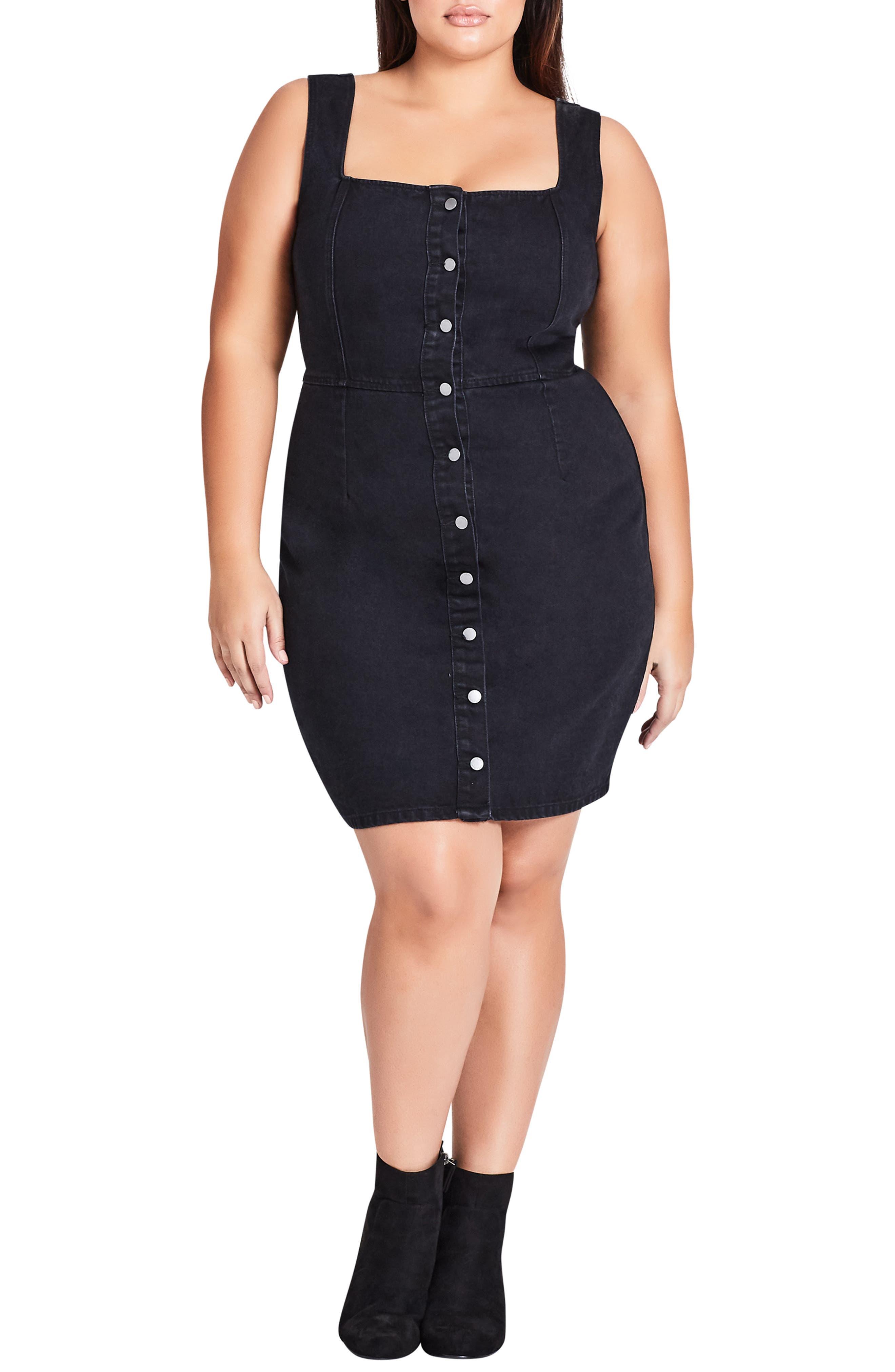 Plus Size City Chic Denim Button Front Dress, Black