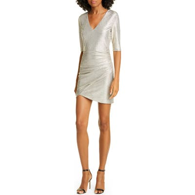 Alice + Olivia Judy Ruched Cocktail Dress, Grey