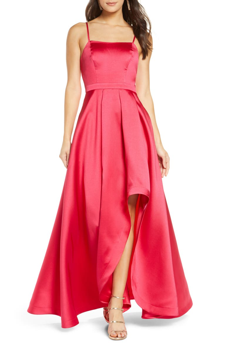 SEQUIN HEARTS Square Neck Mikado High/Low Gown, Main, color, 650