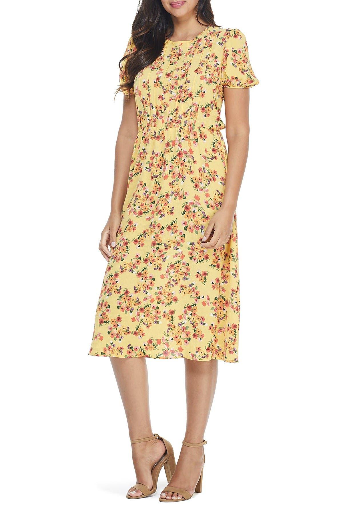 Image of London Times Puff Sleeve Patterned Midi Dress