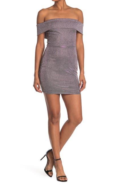 Image of JUMP Metallic Off-the-Shoulder Mini Dress