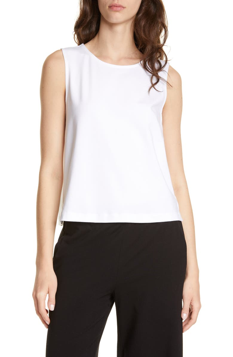EILEEN FISHER Stretch Cotton Shell, Main, color, WHITE