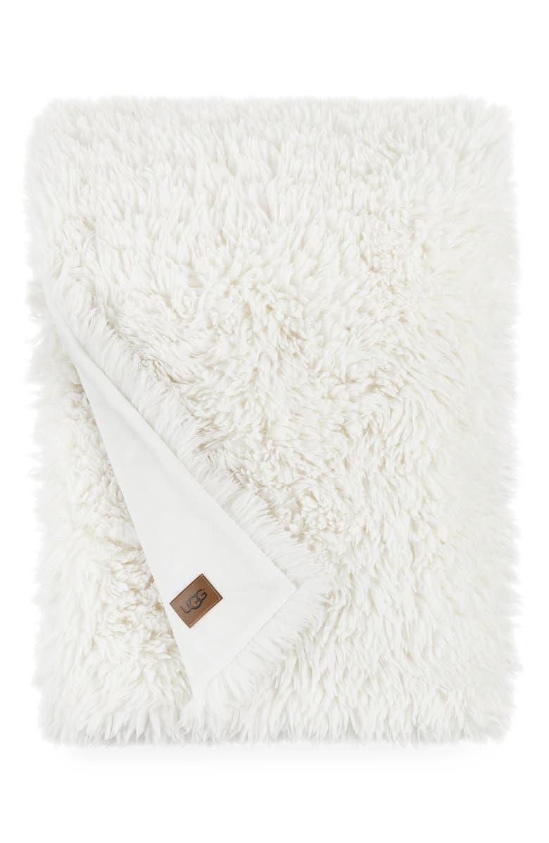 UGG<SUP>®</SUP> Lila Faux Fur Throw Blanket, Main, color, SNOW