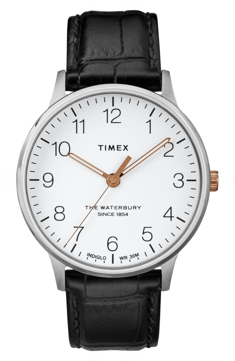 TIMEX<SUP>®</SUP> Waterbury Leather Strap Watch, 40mm, Main, color, BLACK/ WHITE/ SILVER