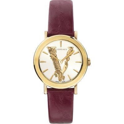Versace Virtus Leather Strap Watch,