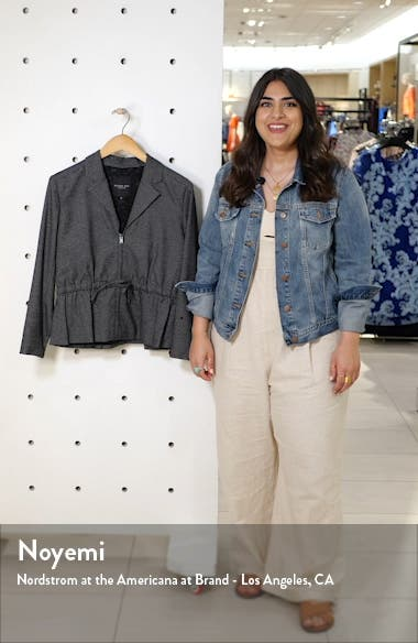 Drawstring Waist Microcheck Jacket, sales video thumbnail