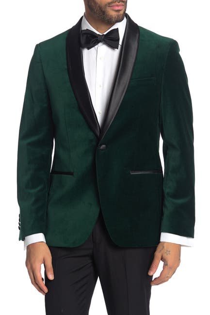 Image of SAVILE ROW CO Emerald Shawl Collar One Button Velvet Suit Separate Sport Coat