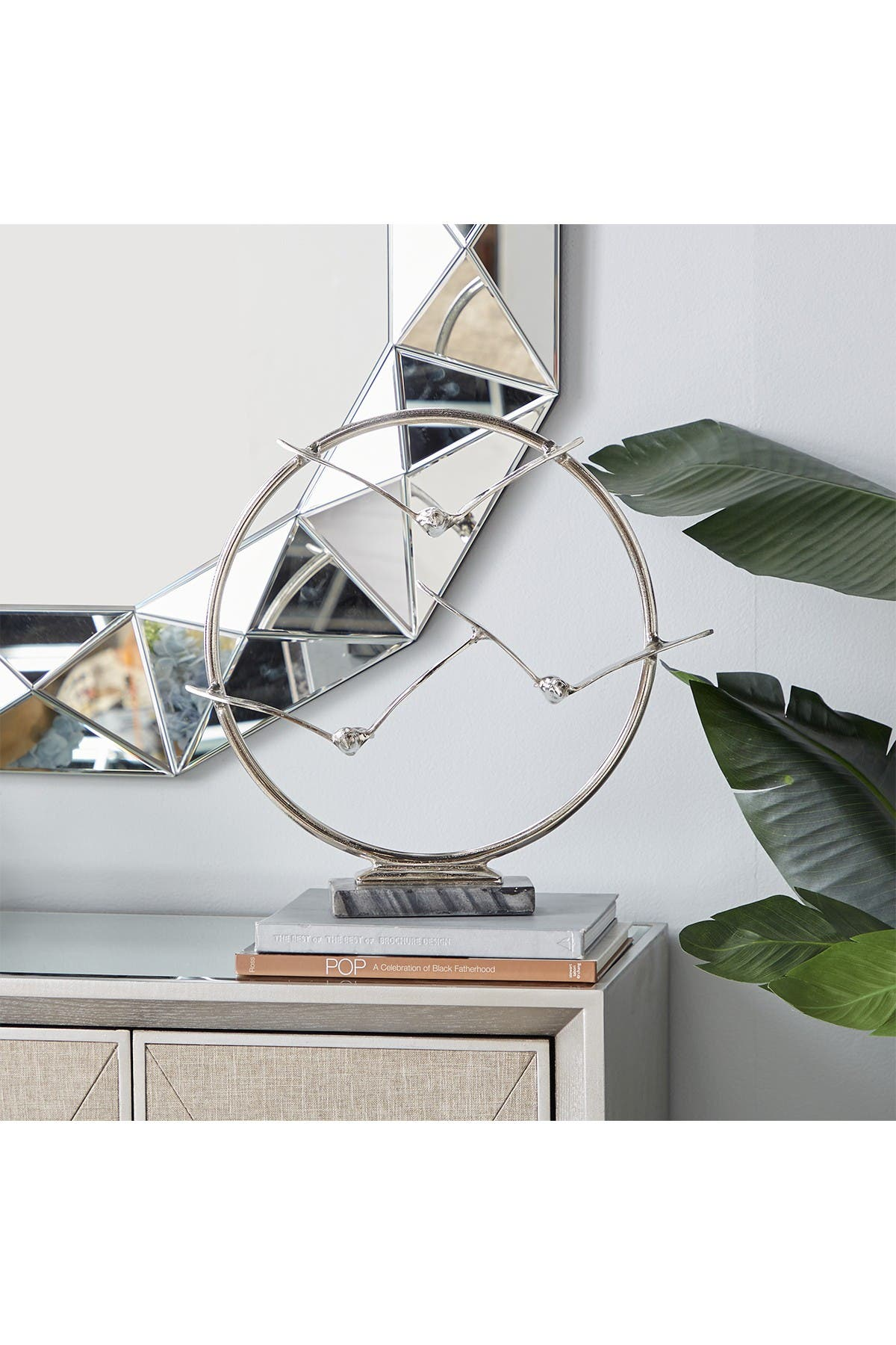 Willow Row Aluminum Bird Sculpture In Silver Finish With Dark Marble Base 19 X18 Nordstrom Rack