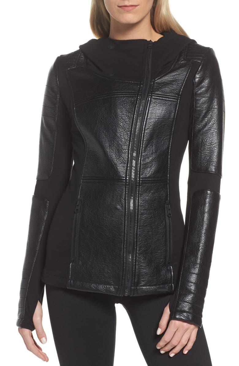 BLANC NOIR Faux Leather Hooded Moto Jacket, Main, color, 001